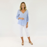 JENDI SKY BLUE DETAILED SLEEVE TOP
