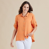 THREADZ ORANGE COTTON TEXTURED SHIRT