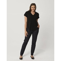 ONE P DESIGN MERINO BLACK V NECK TEE