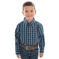 PURE WESTERN BOYS ALFONSO CHECK NAVY SHIRT