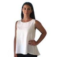 GOONDIWINDI 100% LINEN WHITE SLEEVELESS TOP