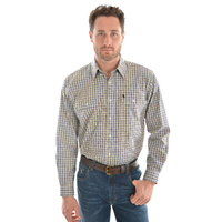 THOMAS COOK  STONE/NAVY CHECK DOBBS SHIRT