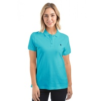 Womens Classic Stretch Polo Aqua