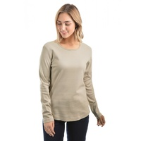 Womens Curved Hem Top Pebble