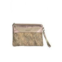WRANGLER PEWTER COW HIDE CLUTCH