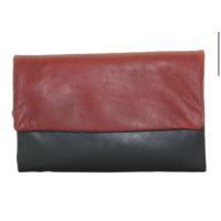 CENZONI OIL PULL-UP BLACK/RED LEATHER WALLET